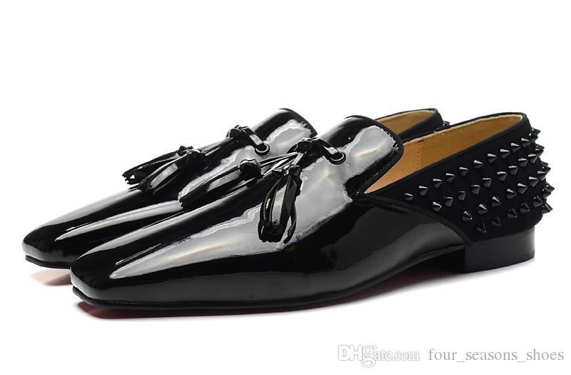 Hot Size 39-47 Yards Men Black Leather With Tassel/Rivets Square Toe Red Bottom Loafers,Gentleman Brand Wedding Party Dress Shoes