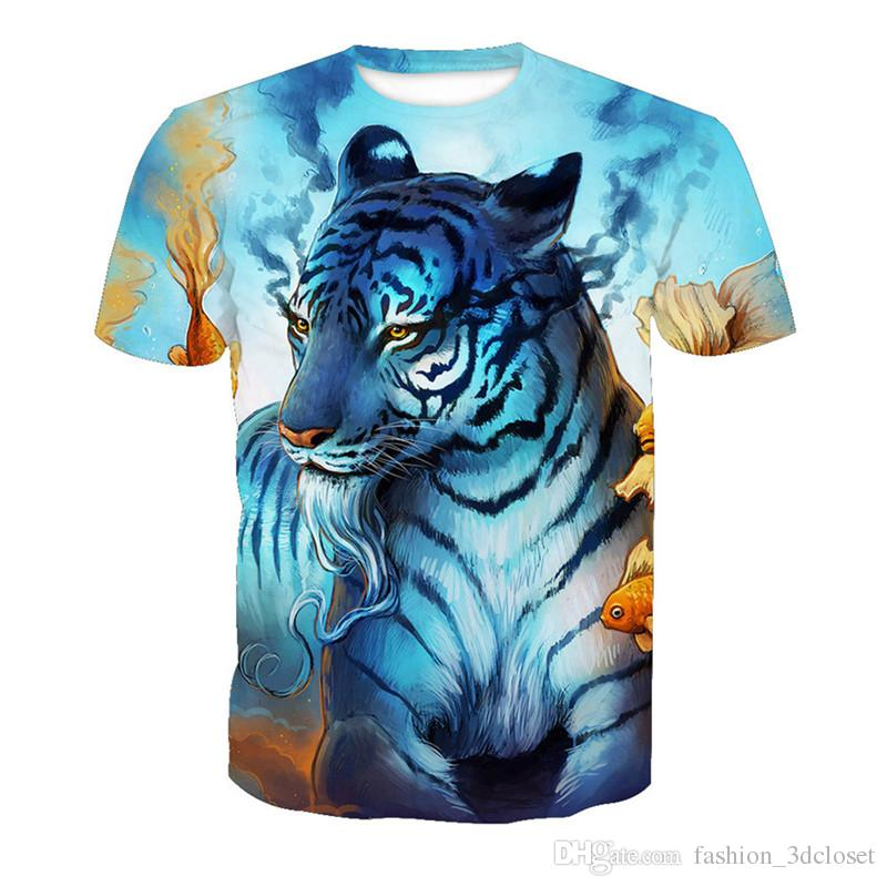 2018 Magical Tiger Printed t shirts Harajuku Men Plus Size Tops Funny Animal Anime Printed T Shirt Gothic Mens Fun Streetwear