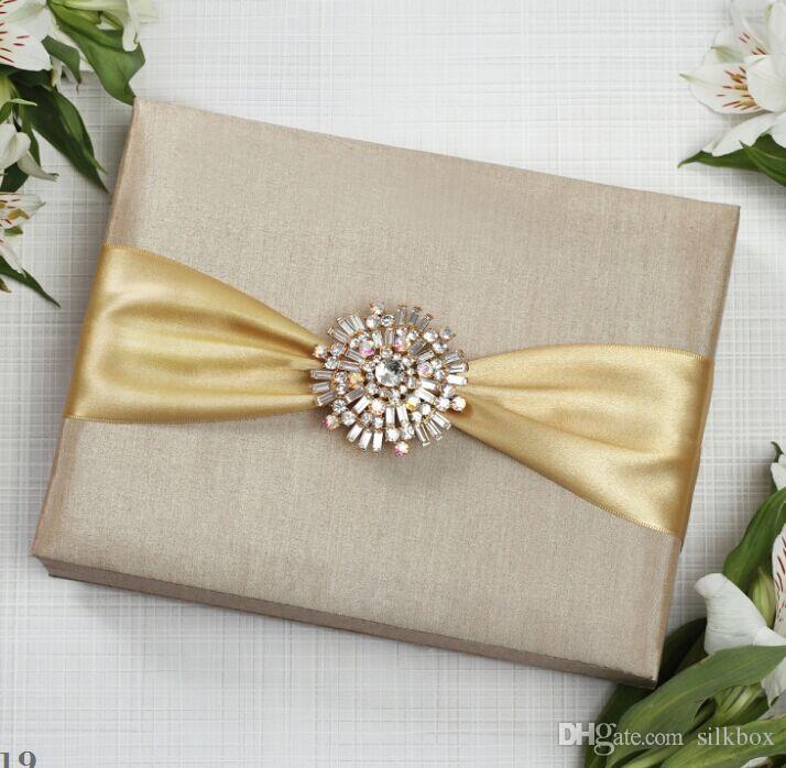 Super Luxury Silk Wedding Invitation Box With Luxury Rhinestone