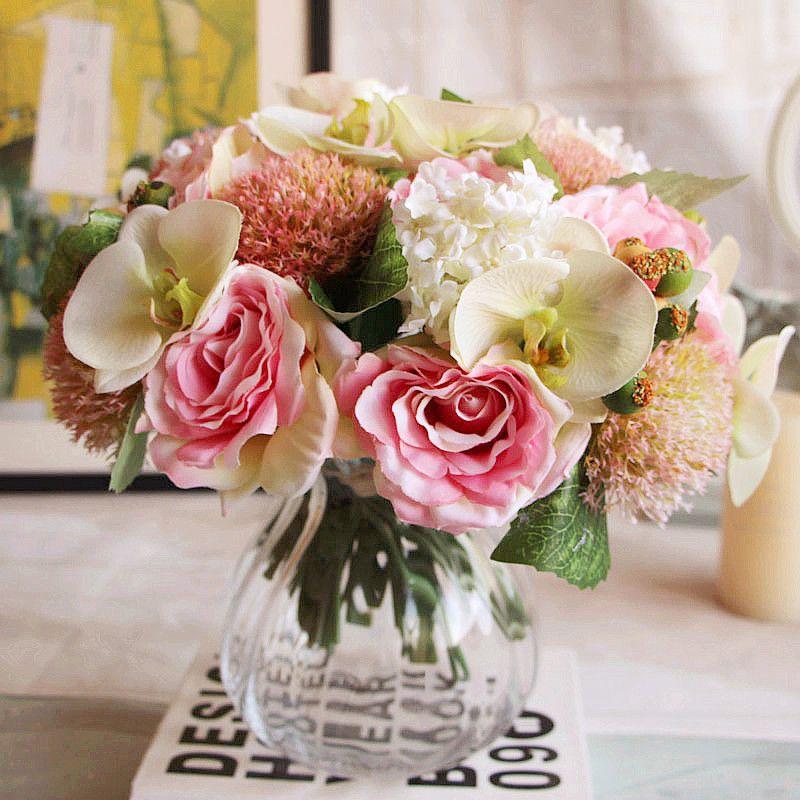 2019 hydrangea orchid silk artificial roses decorative wedding