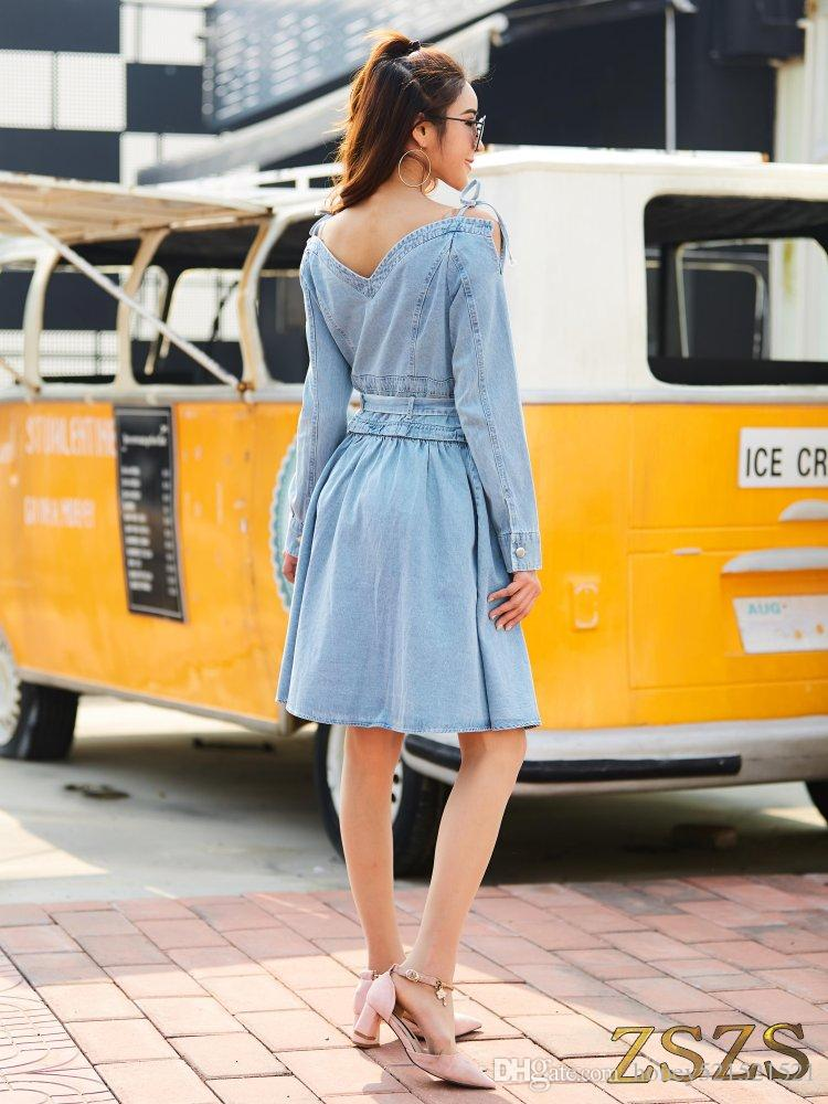 Nuevo diseño moda mujer sexy casual vendaje fuera del hombro manga larga pantalones vaqueros del dril de algodón una línea de pechos cruzados vestido de cintura alta S M L XL