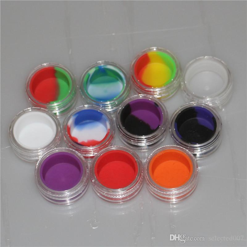 New 3ml Round Silicone Containers With Clear Acrylic Shield Conta Nonstick For Oil Wax Dabs Slick Jars Free Hookah Gel Holder