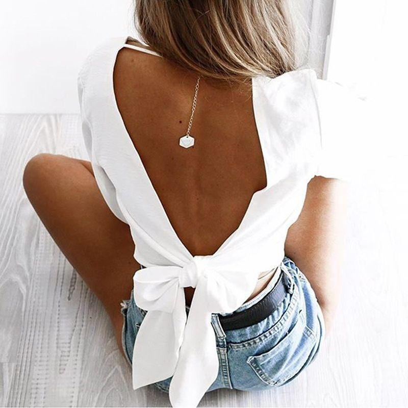 Aperti sexy indietro maniche lunghe soft top in maglia elastico con scollo a V maglietta di modo Backless shirt camicetta allentata rosso e bianco