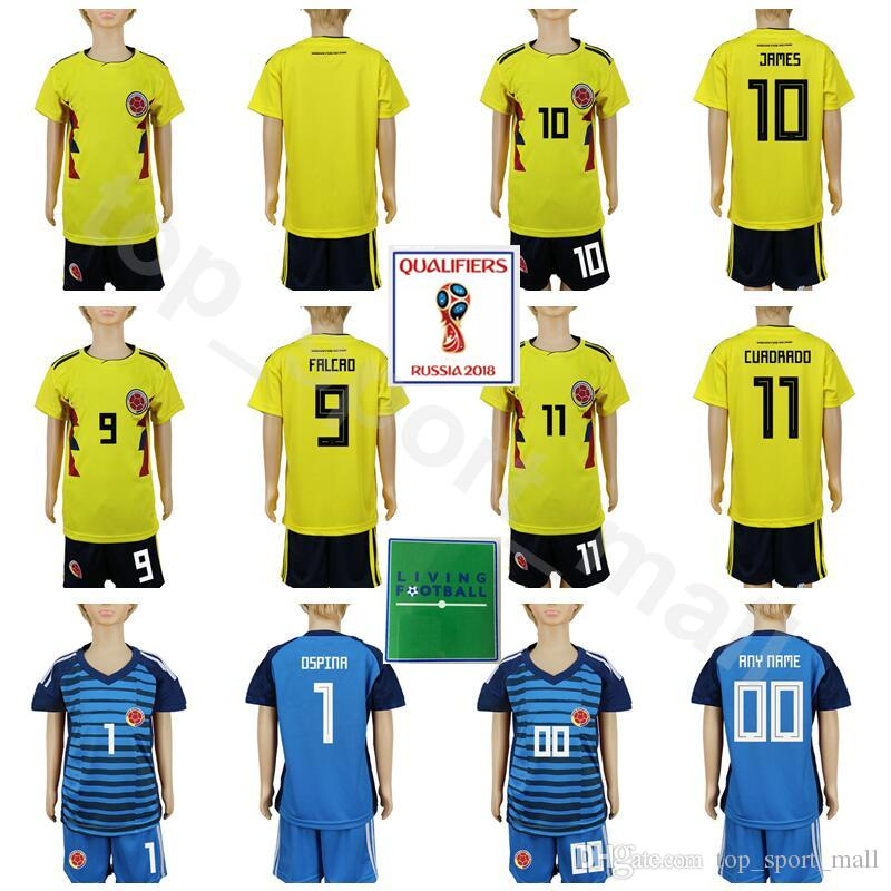 e96ff0033 2019 Youth Colombia Soccer Jersey 2018 World Cup Set Kids 10 JAMES 9 FALCAO  11 CUADRADO 7 BACCCA 1 OSPINA Football Shirt Kits Children Goalkeeper From  ...