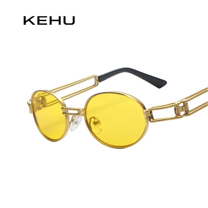 6fab2d4a7f46c Compre KEHU Óculos Redondos Armação De Metal Oval Óculos De Sol Das  Mulheres Steampunk Homens Moda Óculos De Marca Designer Retro Vintage Óculos  De Sol ...