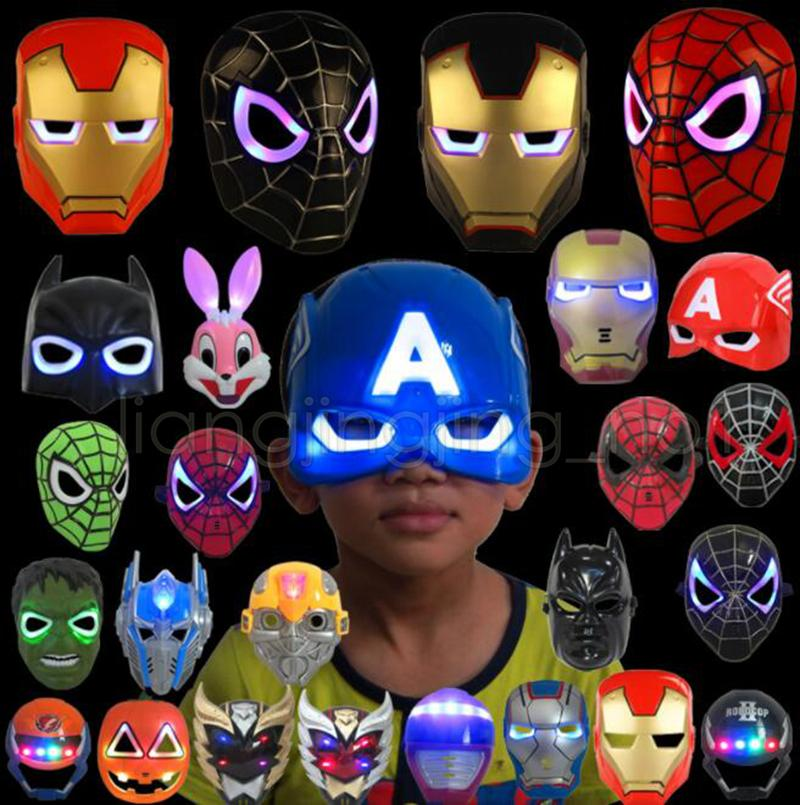 LED Glowing Light Mask hero SpiderMan Captain America Hulk Iron Man Mask For Kids Adults Christmas Halloween Birthday LED mask GGA936