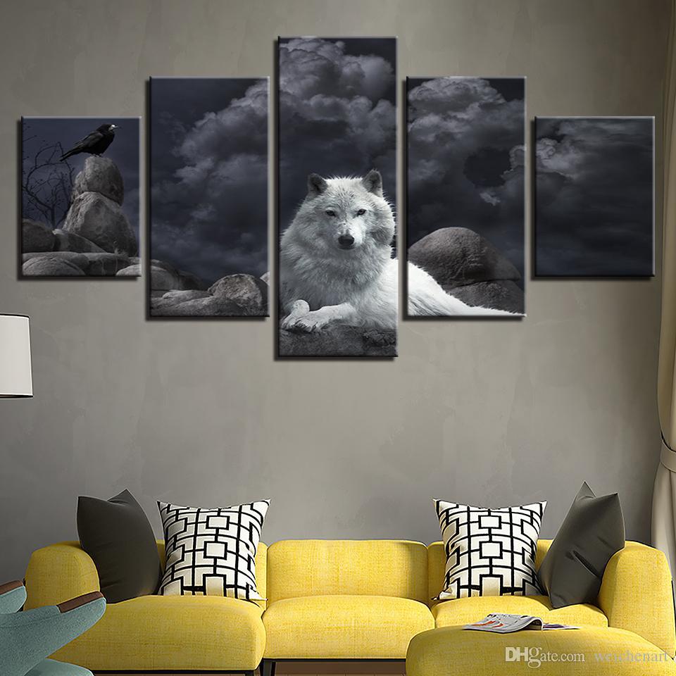 Tuval Wall Art Tablolar Ev Dekorasyonu Çerçeve 5 adet Beyaz Kurt Ve Kuş Resimleri Salon HD Baskılar Hayvanlar Gece Poster