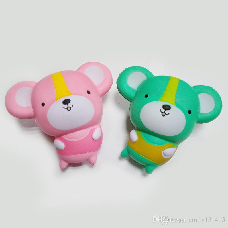 Cute kawaii mouse squishy 11 cm pink and the green lovely slow rise of the small mouse children cartoon squishyies toy