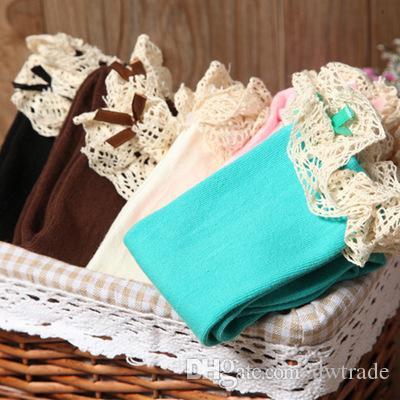i ragazze Soild colore bello morbido cotone zolfo con calze di pizzo che si infrangono le neonate che ballano calze tubo lungo 0-8 t 10 pz = 5 paia