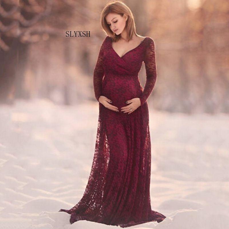 7cbae6d14 Compre Vestido De Las Mujeres Apoyos De La Fotografía De La Maternidad Ropa  Del Embarazo Del Cordón Vestidos De Maternidad Elegantes Para La Foto  Embarazada ...