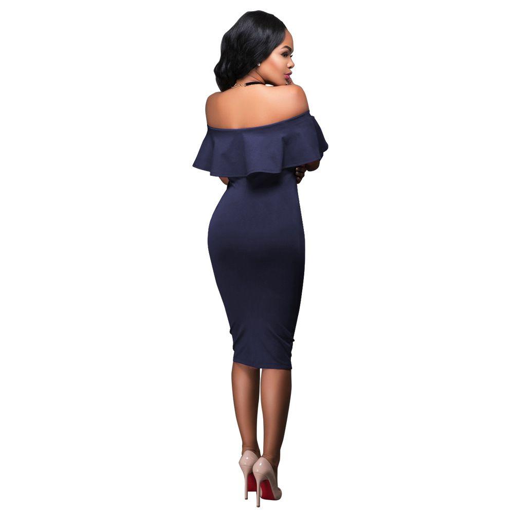 2018 Estate Royal Blue Off The Shoulder Vestito aderente midi Abiti senza maniche le celebrità delle donne africane senza bretelle