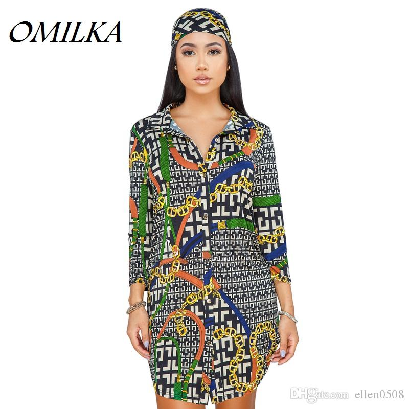 7d4d7230 OMILKA Plus Size Chain Printed Shirt Dress 2018 Autumn Women Long Sleeve  Turn Down Collar Asymmetrical Club Party Mini Dress Dresses For White Party  Short ...