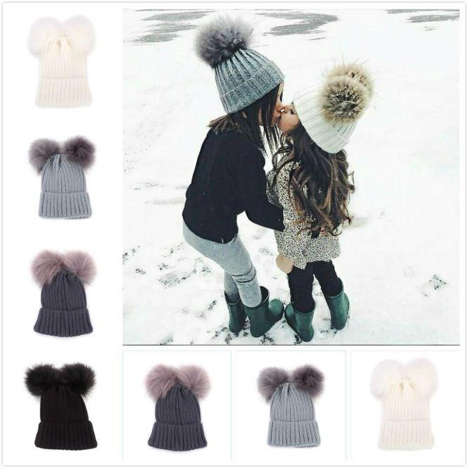 2019 Winter Mom Baby Hats Baby Boy Girls Warm Double Pom Pom Hat Beanie  Women   Kids Knitted Cap Hat Skullies Women Beanies From Ourangel 436999f1c14