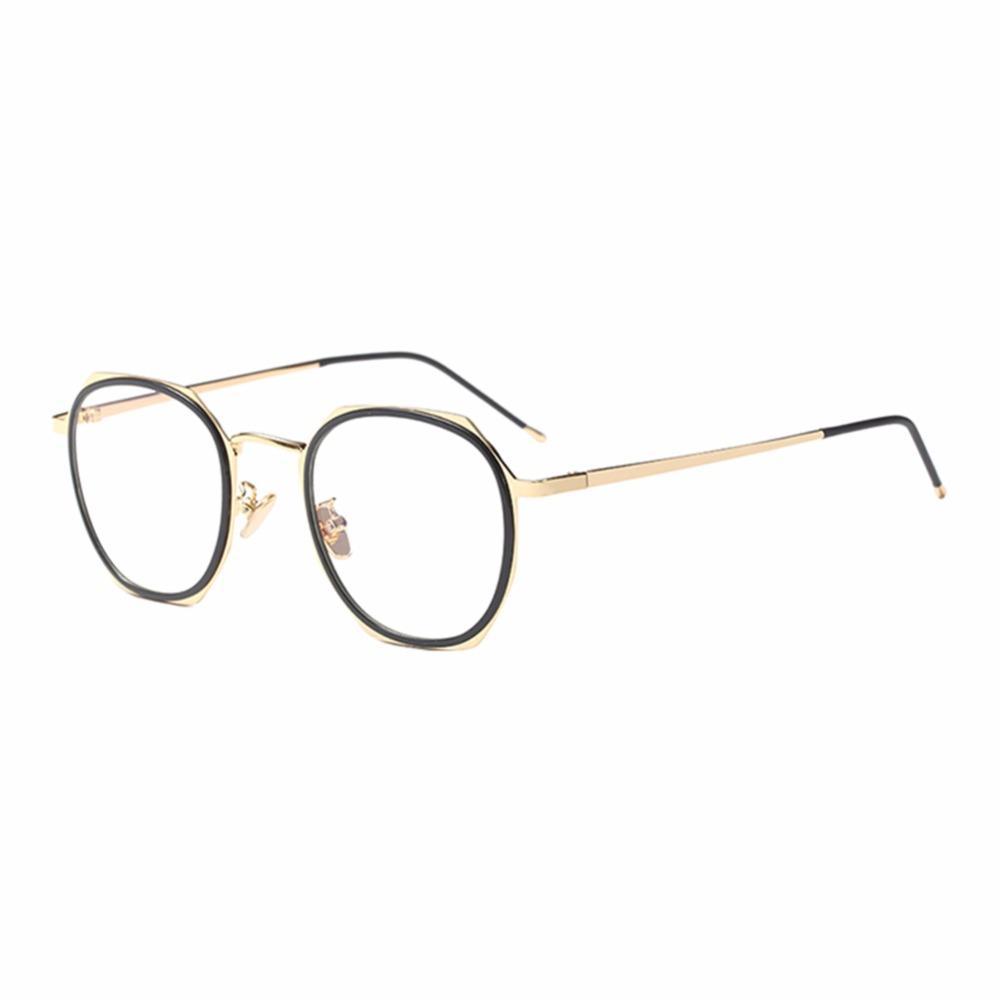 4b91cf5f117 Retro Irregular Metal Oval Frame Clear Lens Glasses Outdoor Unisex ...