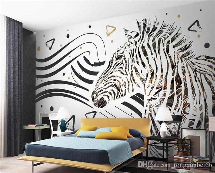 Papel pintado moderno simple del arte abstracto Líneas blancas y negras 3D Cebra Mural Sala de estar Fondo del dormitorio Papel de pared de la moda 3 D