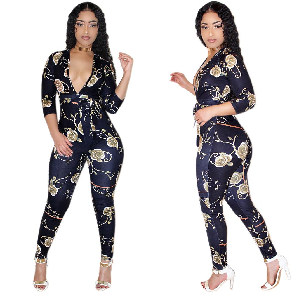Autumn Floral Print Sashes Long Pant Club Coveralls Dark Blue Full Sleeve Deep V Neck One Piece Bodycon Jumpsuit Women Macacao