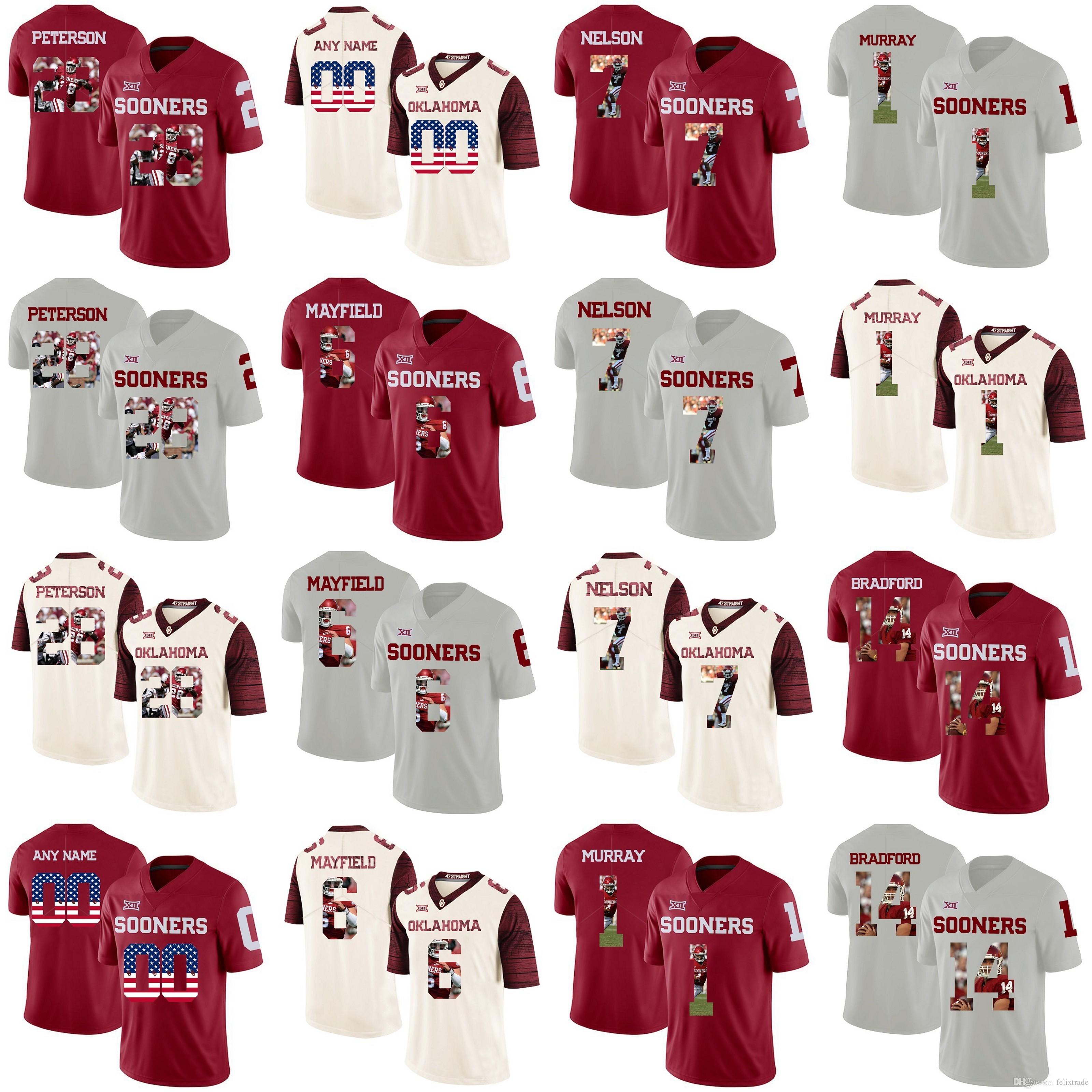 the best attitude 7b538 2ec82 Oklahoma Sooners# Adrian Peterson Baker Mayfield Sam Bradford Tony  Jefferson Corey Nelson College Football Stitched Jerseys