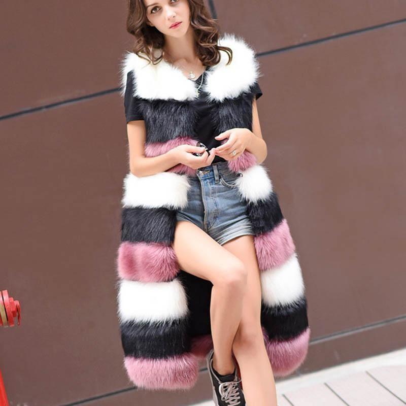 feefeb46e062e 2018 Vest Women s Winter Genuine Fur Jacket Long Overcoat Girl ...