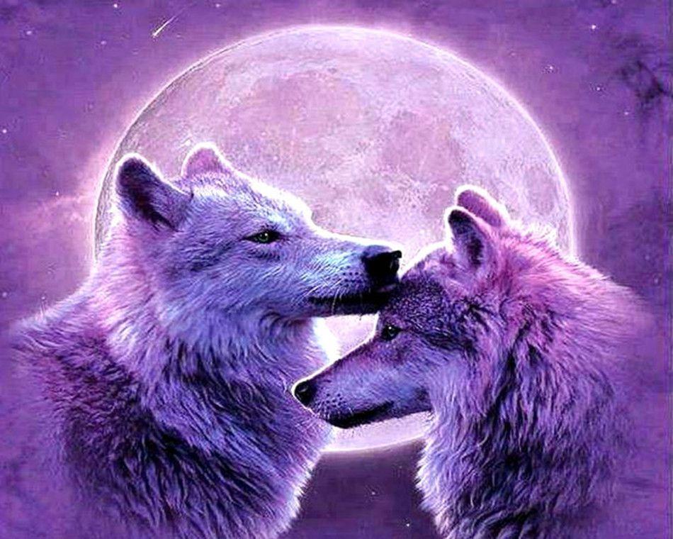 Großhandel 16x20 Zoll Lila Mond Nacht Zwei Wölfe Umarmen Jede Andere ...