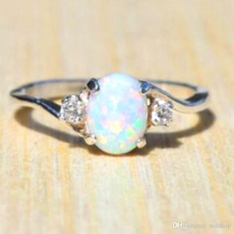 White Fire Opal Ring For Women Big Oval Egg Shape Opal Ring Cubic
