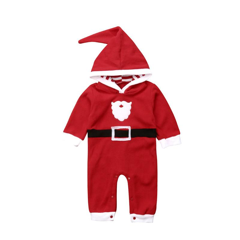 Christmas Newborn Baby Boys Girl Hooded Romper Playsuit Santa Claus Print Long Sleeve Warm Fleece Jumpsuit Outfits Baby Clothing Y18102907