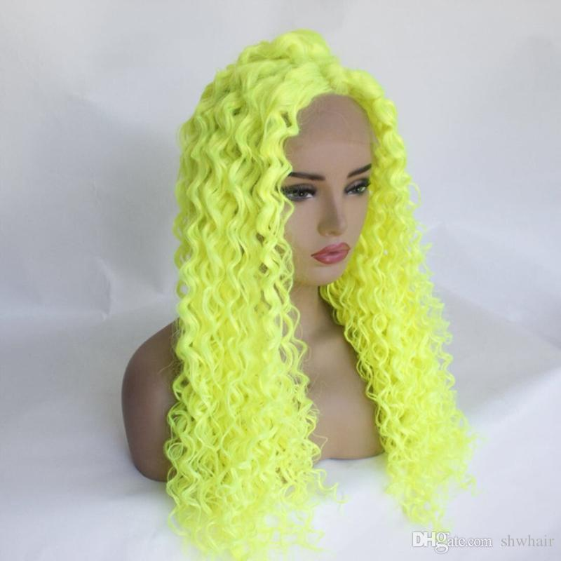 Long Tight Curly Yellow Green Synthetic Lace