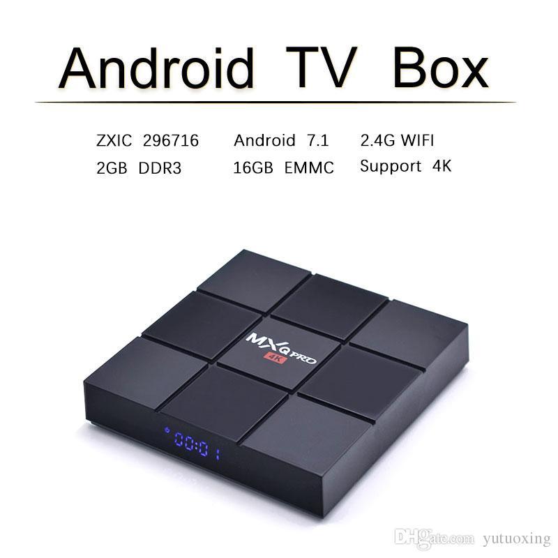 MXQ PRO Android 7 1 Tv Box ZXIC ZX296716 Quad core 2GB 16GB eMMC Flash  Smart tv Set Top Box Better TX3 mini