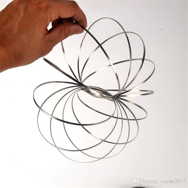 Metal Toroflux Flow Ring Stainless Steel Wire Flowrings Magic Pattern Spring Deformation Rolling Bracelet Toys Xmax