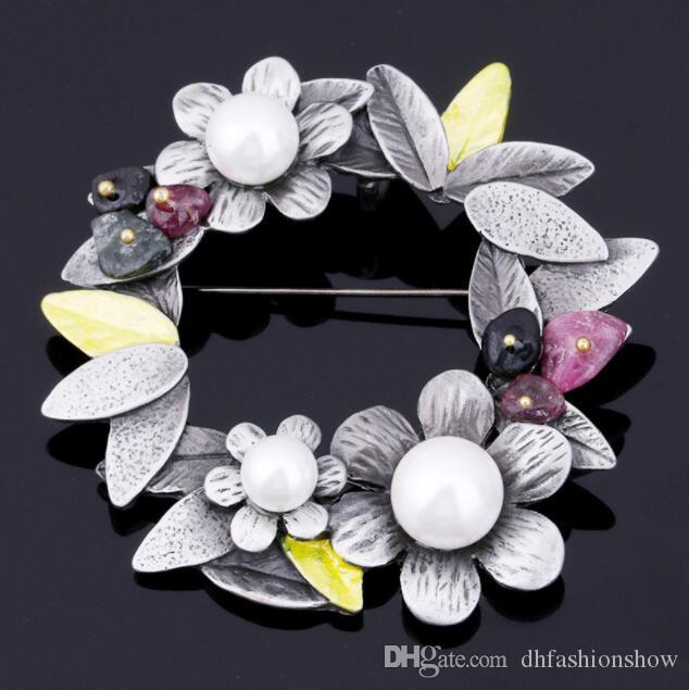 Wholesale Antique Silver Plated Flower Brooches With Natural Stone ... 18430890c6db