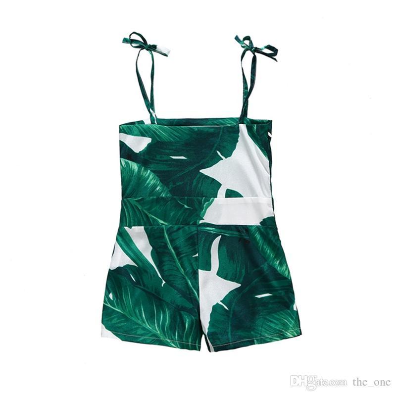зеленый лист печати рукавов лето новорожденный девочка дети комбинезон Комбинезон спагетти ремень комбинезон мода