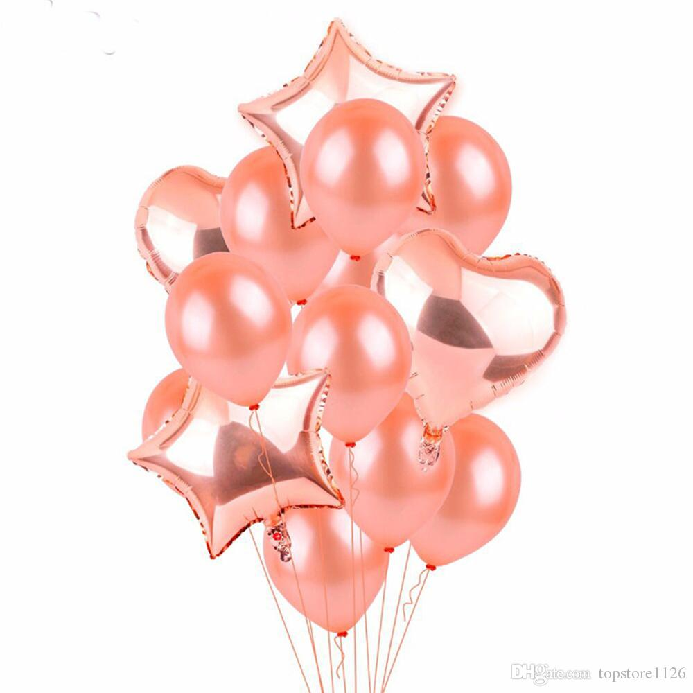 Hot 18 Inch Rose Gold Aluminium Coating Balloons Beautiful Kids Toys Happy Birthday Party Wedding Gifts Decorations Big Helium Balloon