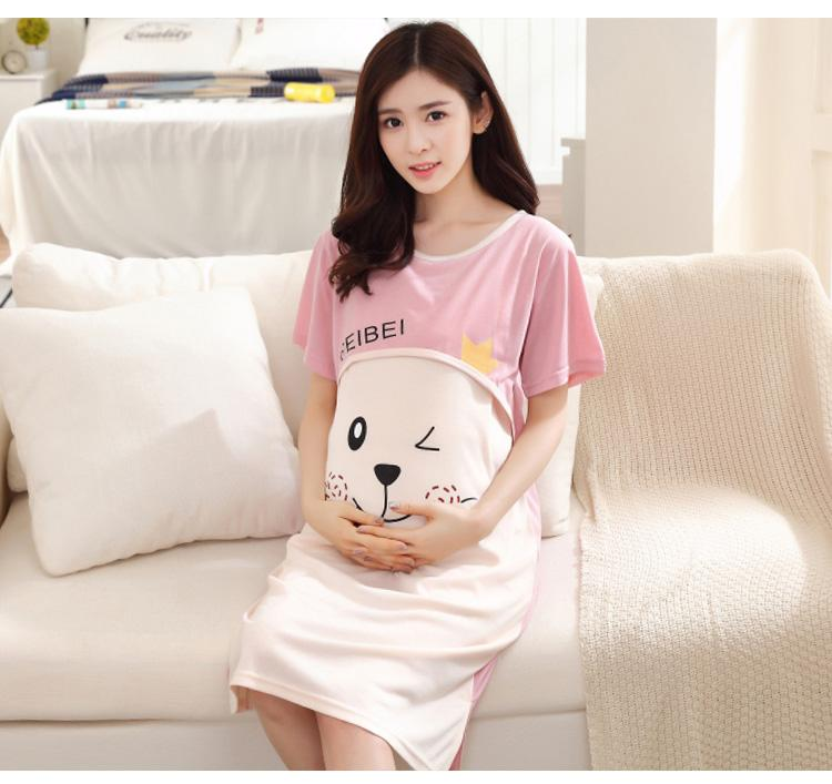 9e26032c8ec 2019 Breastfeeding Clothing Maternity Dresses Cute Character Breathable  Loose Short O Neck Pregnant Nursing Dress From Anglestore
