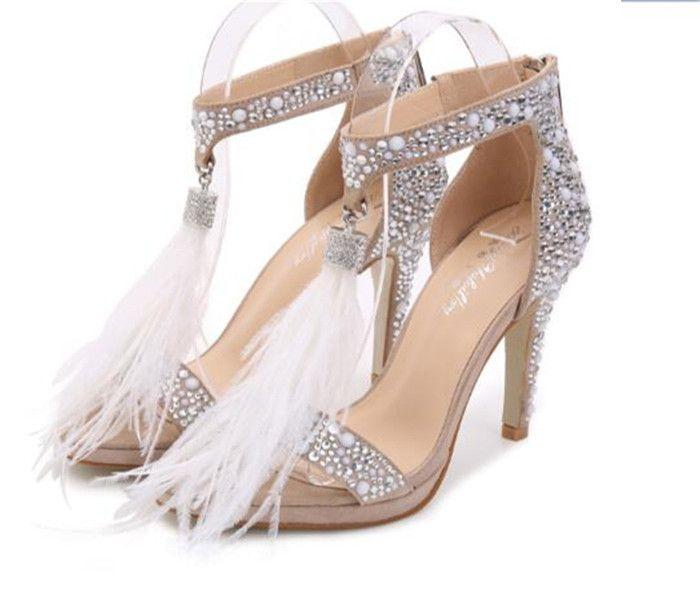 Strass plume talons hauts chaussures cristal sandales femmes été talons de mariée doux chaussures de mariée blanc chaussures de mariage sandales