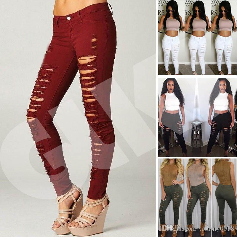 798648cc3d76f 2019 2018 New Fashion Sexy Women Destroyed Ripped Denim Jeans Skinny Hole Pants  High Waist Stretch Jeans Slim Pencil Trousers Black White Blue From ...