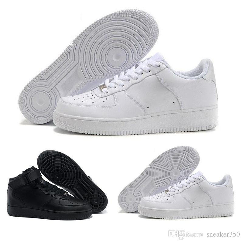 uk availability b2f98 847a6 Acheter Nike Air Force 1 One Af1 2018 Classique Chaussures MID 07 One  Hommes Femmes Casual Shoes 1 Noir Blanc Sport Sneakers Noir Casual  Skateboard Trainers ...