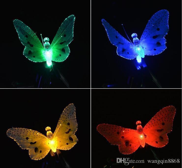 12LED Glasfaser Schmetterling Solar wasserdichte Garten Weihnachtsverkauf Lichterkette