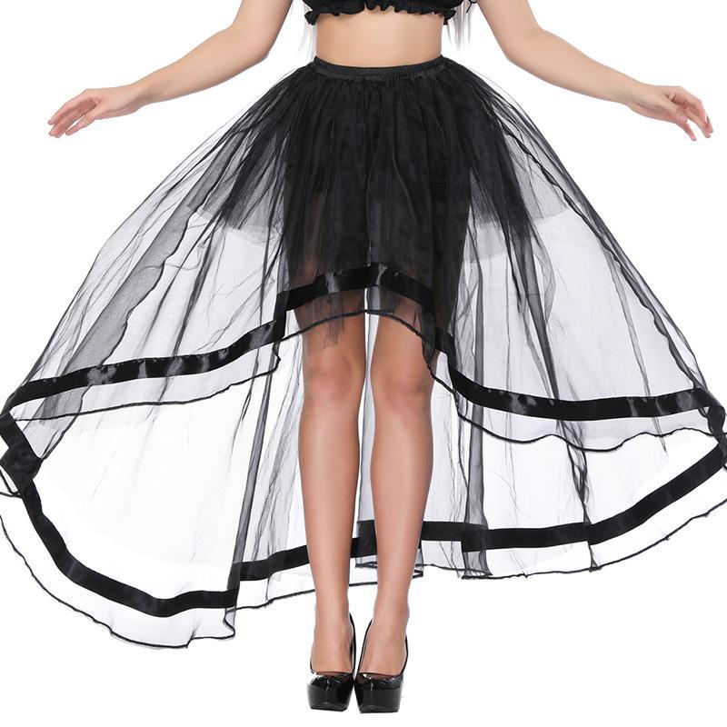 Compre Corsé Largo Steampunk Falda Sexy Transparente Adelgaza Faldas De  Malla De Tul Para Las Mujeres Negro Falda Con Encanto Gótica Muestra Fiesta  Disfraz ... 75c6de5f532f