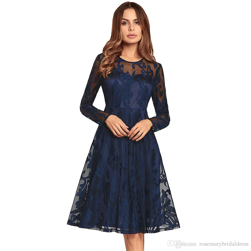 b65608ca6b36 Dark Navy Long Sleeve Party Dresses Swing Knee Length Floral Lace Short  Prom Dresses Homecoming Dresses Real In Stock Perfect Party Dress Petite Party  Dress ...