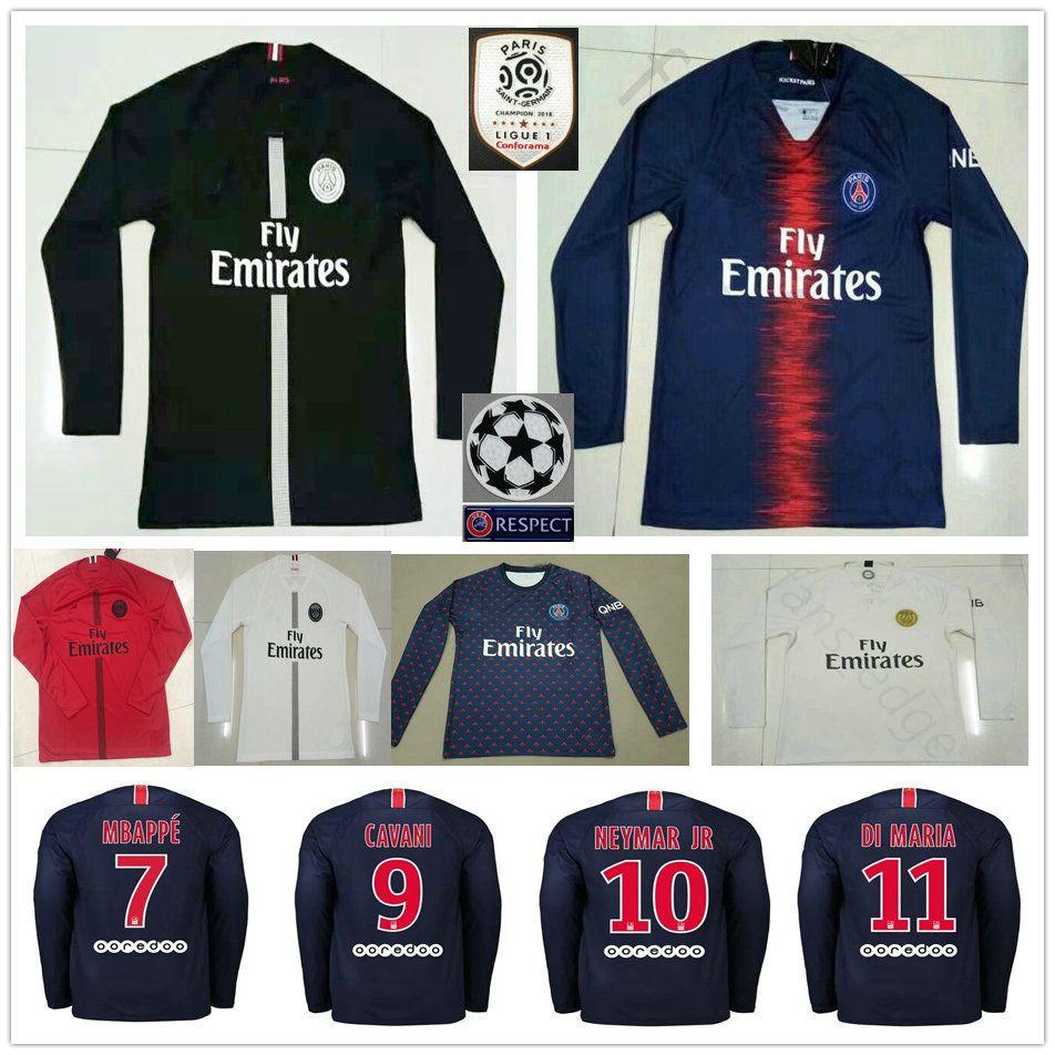 2018 2019 Paris Saint Germain Jersey De Fútbol De Manga Larga MBAPPE 10  NEYMAR JR BUFFON VERRATTI CAVANI Personalizado Camiseta De Fútbol De Tercer  Partido ... c1b5a484a9247