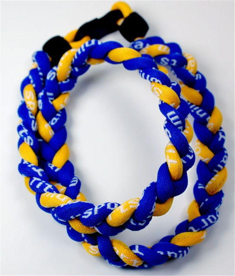 Choker germanium titanium 3 ropes tornado necklace braided baseball SPORTS football softball pendant healthy Fashion body jewelry 45CM