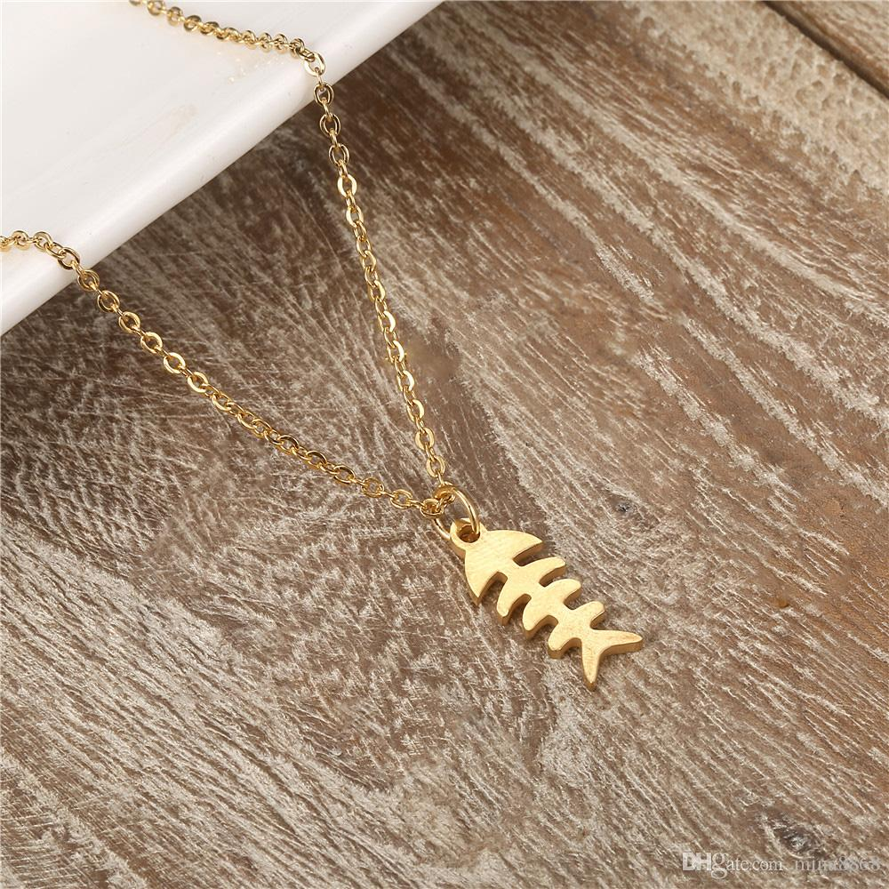 Personality Fashion Jewelry Delicate Fish Bone necklace silver/gold color stainless Steel Pendant Necklaces for women men Collier