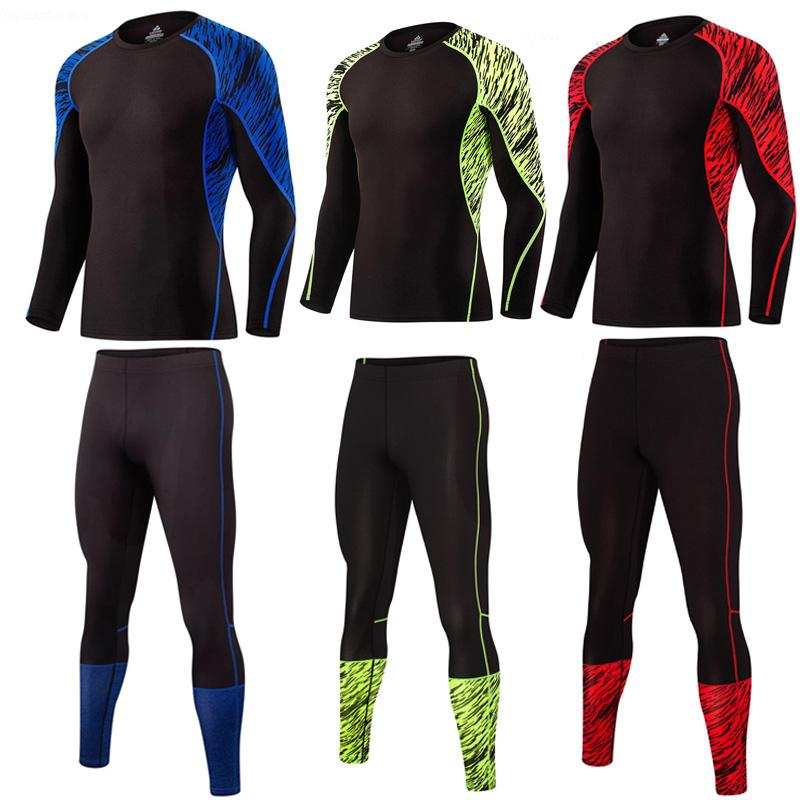 Men's Sport Running Suit Thermal Underwear Base Layer 2 Piece Tracksuit Men Compression For Gym Clothes Crossfit Tshirt Leggings