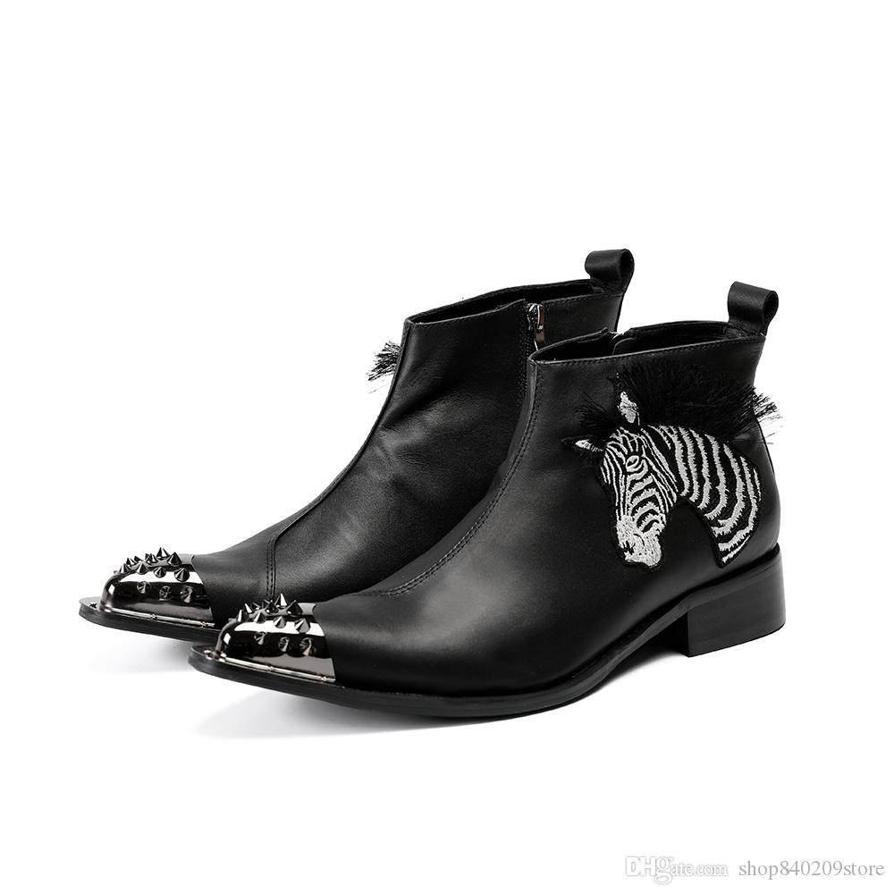 fb7cb222cc0 Spike Toe Black Ankle Boots For Men Real Leather Black White Stripe Zebra  Luxury Male Shoes Pointed Toe Zip Boots Mens