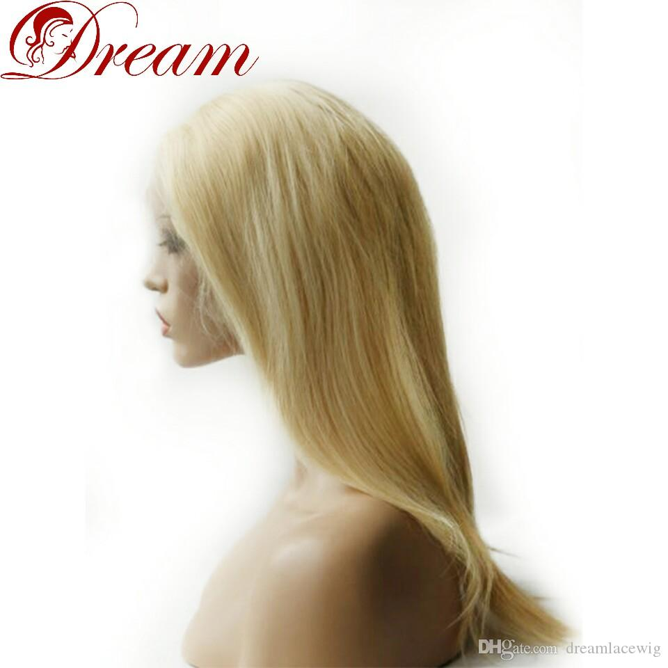 Dream 8A Lace Front Wigs for Woman Blonde Silky Straight 100% Human Hair Density 130% Best Quality Good Quality 8 Inch to 22 Inch