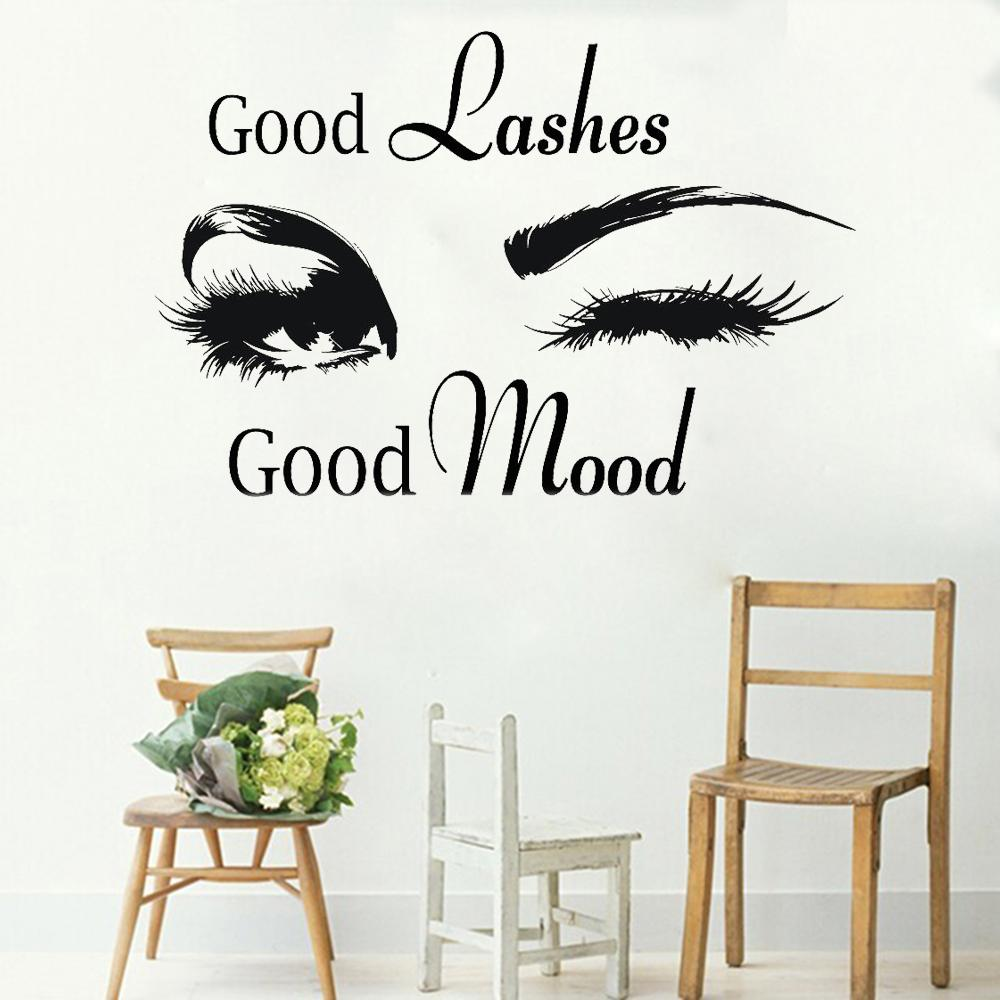 Good Lashes Beauty Salon Quote Wall Stickers Decal Eye Ciglia Art Girl Room Decalcomanie Decor Modern Beauty Shop Vinile Murale LC358