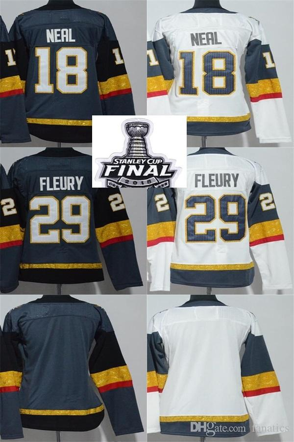 2018 2018 Stanley Cup Final Patch Youth Women Vegas Golden Knights 29 Marc  Andre Fleury 18 James Neal Blank Grey White Kids Ice Hockey Jerseys From  Fanatics ... 89e8bdc0a