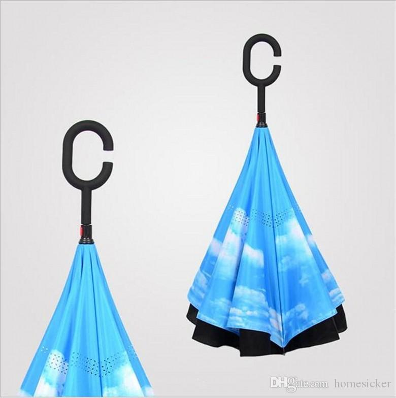 Inverted Umbrella Double Layer Reverse Rainy Sunny Umbrella with C Handle J Handle Self Standing Inside Out Special Design