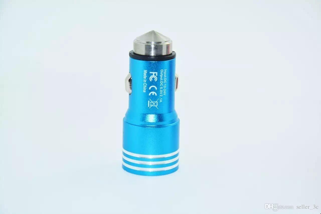 3.1A dual USB car charger Round Aluminum Metal Safety Hammer Charger Adapter For Phone Ipad Digital camera KKA1183