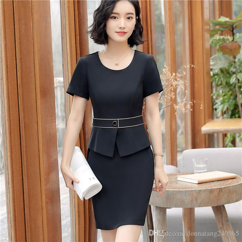 bbd73315724 2019 Women Office Clothing New Style Summer Dress Short Sleeve O Neck  Patchwork Slim Business Peplum Formal Dress From Donnatang240965