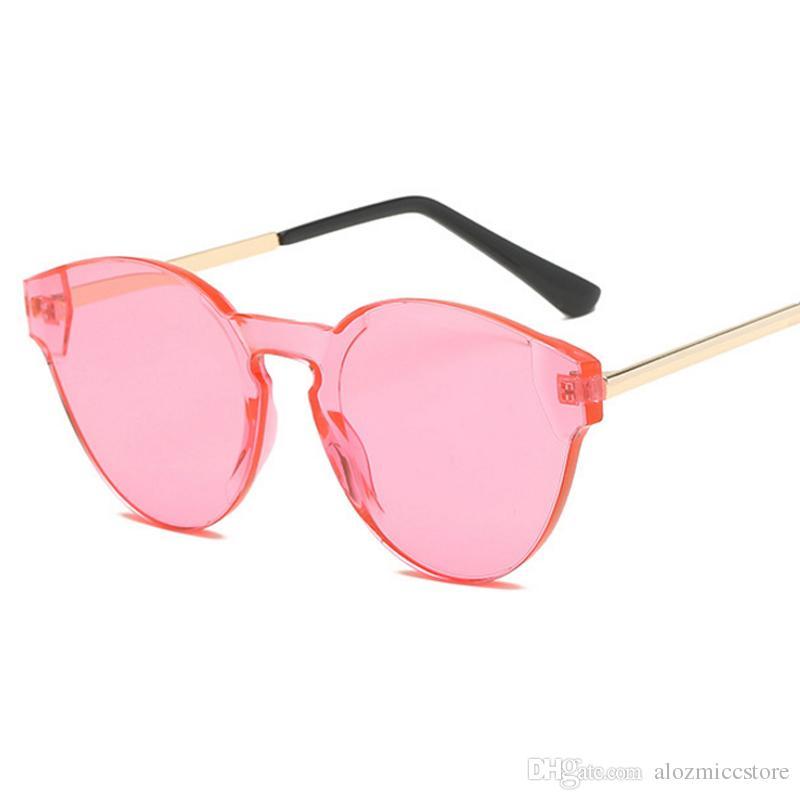 8c276b16269eb Compre Luxo Do Vintage Pequeno Oval Óculos De Sol Das Mulheres Sem Moldura  Um Óculos De Sol Da Moda Homens Marca Designer Óculos De Sol Uv400 W77 De  ...